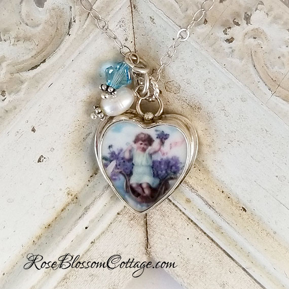 Angel in Violets Heart Broken China Jewelry Sterling Charm Pendant