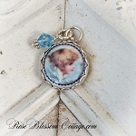 Angel Profile Porcelain Sterling Charm or Pendant