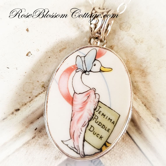 Broken China Jewelry Beatrix Potter Jemima Puddle Duck Oval Sterling Pendant