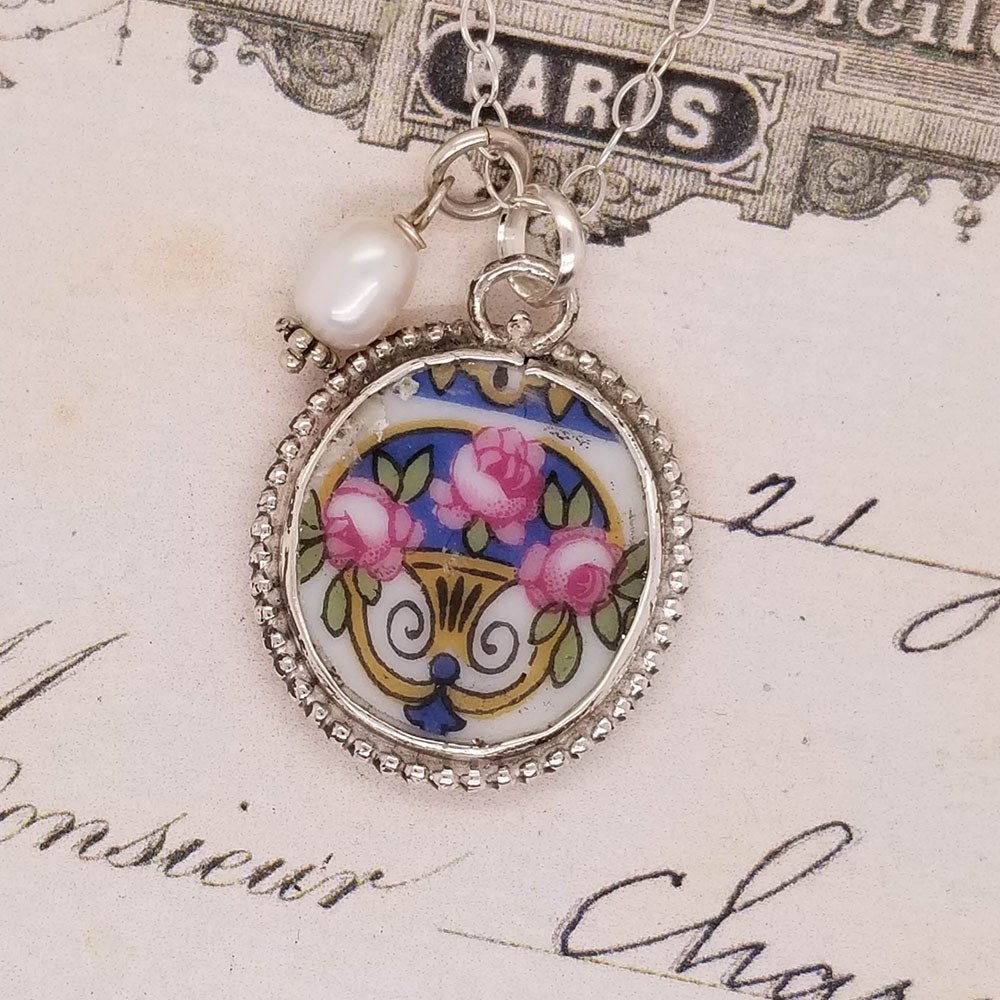 Vintage Blue & Pink Roses Bone Broken China Jewelry Oval Pendant Necklace