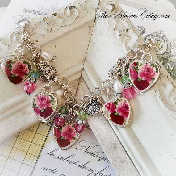 Forever Pink Red Roses II Sterling Broken China Jewelry Bracelet