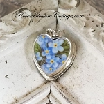 Broken China Jewelry Forget me Not Charm or Pendant
