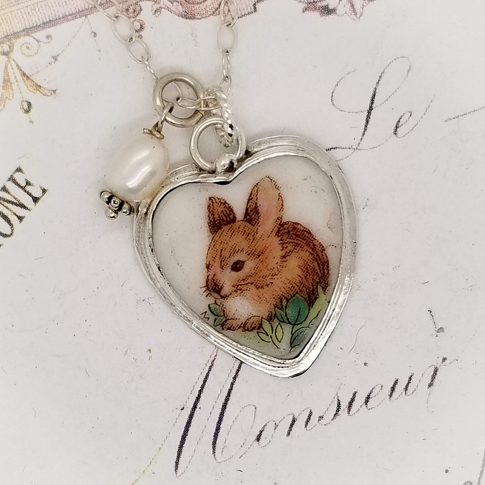 Bunny Broken China Jewelry Porcelain Sterling Charm Pendant Necklace