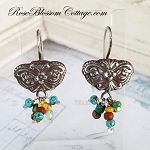Ornate Butterfly Earth tone Beaded Sterling Silver Earrings