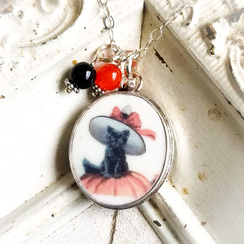 Black Kitty Cat Broken China Jewelry Oval Halloween Pendant Necklace