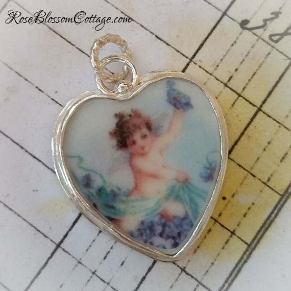 Violets Greeting Angel  Broken China Jewelry Charm