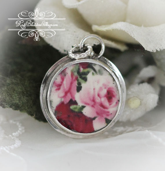 Broken China Jewelry Round Pink Red Roses Sterling Charm or Pendant