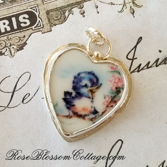 BESTSELLER Broken China Jewelry Charm Petite Happy Blue bird of Happiness Charm Pendant