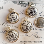 Antique Paris Postmarks Images in Porcelain & Sterling Charm: Choice of Charm
