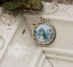 Bluebird Porcelain Sterling Edged Charm or Pendant