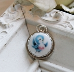 BESTSELLER Bluebird of Happiness Sterling Edged Porcelain Charm or Pendant
