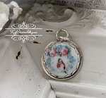 RETIRING STYLE last ones... Robin and Roses Edged Sterling Porcelain Charm or Pendant