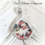 Christmas Happy Pink Santa Fat Teardrop Broken China Jewelry Pendant Necklace