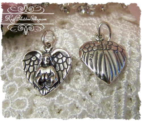 Praying Angel Wings Sterling Charm