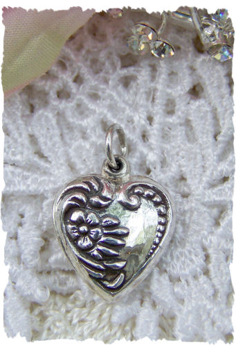 Scrolled Sterling Silver Floral Charm