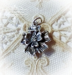 Double Flower Sterling silver Pendant Charm