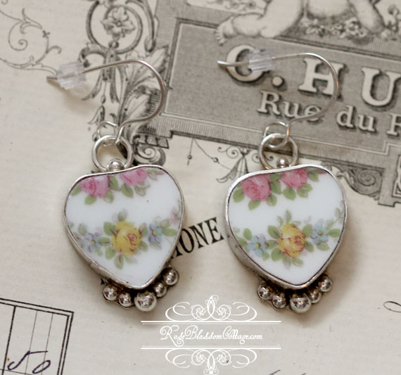 Antique Yellow and Pink Roses Stering Earrings