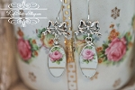 Broken China Jewelry Long Oval Bow Earrings