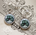 German Lucky four leaf Clover Sterling Earrings