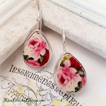 Red & Pink Roses Broken China Jewelry Tear Drop Earrings