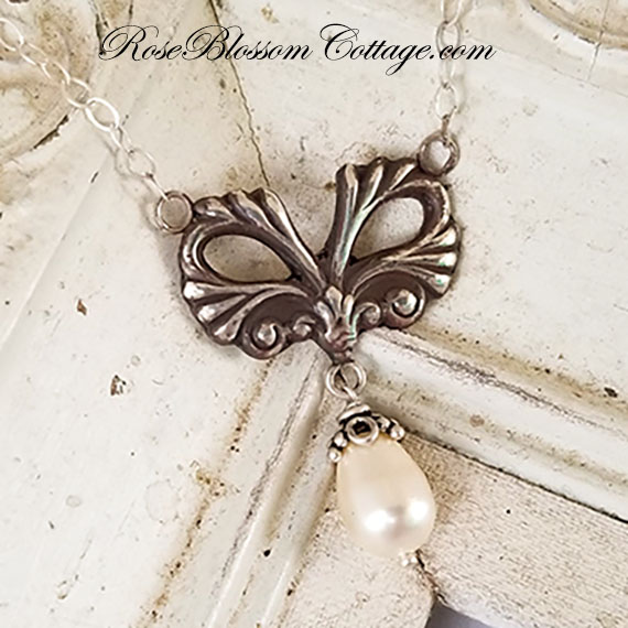 Ornate Bow Flourish Drop Sterling & Swarovski Pearl Necklace
