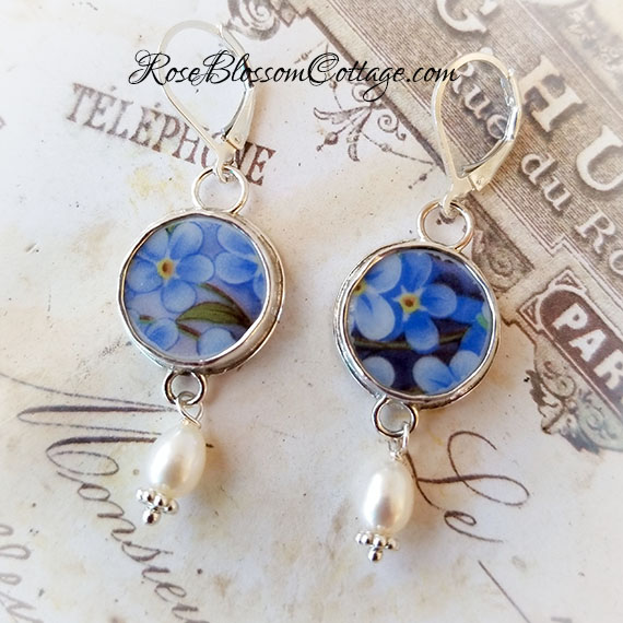 Forget Me Not Petite Round Broken China Jewelry Sterling Earrings