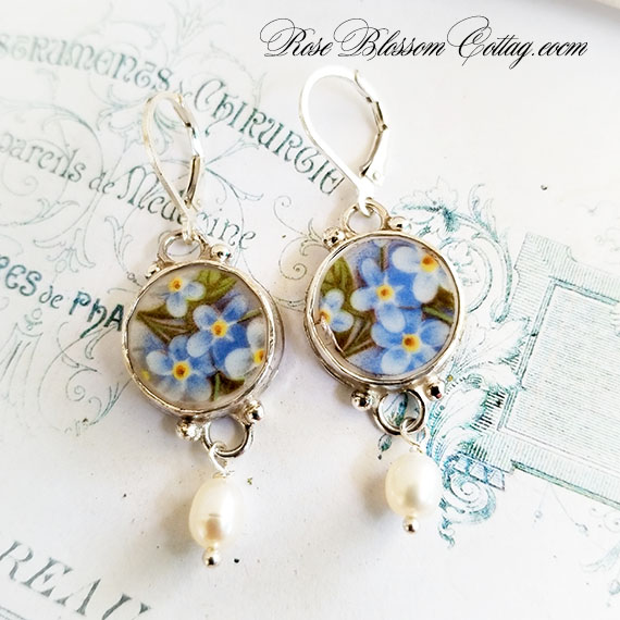 Forget Me Not Round Broken China Jewelry Sterling Earrings