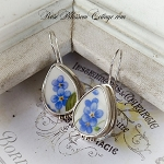 Petite Oval Broken China Jewelry Forget me Not Sterling Earrings