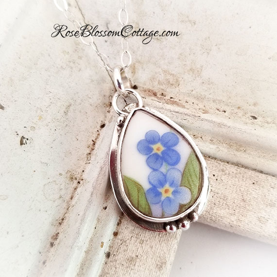 Forget Me Not Broken China Jewelry Sterling Small Teardop Charm Pendant Necklace