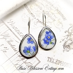 Petite Teardrop Broken China Jewelry Forget me Not Sterling Earrings