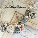 For the Birds Broken China Jewelry Sterling Multi Sterling Charm Bracelet