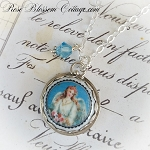 Shabby Blue Angel Charm Necklace