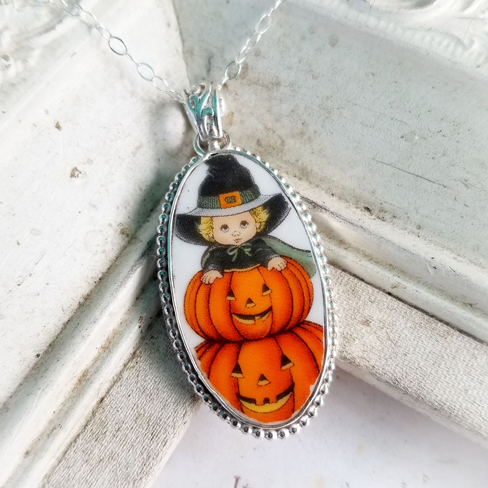 Halloween Broken China Jewelry Long Oval Child Jack O' Lantern Pumpkins Sterling Pendant Necklace