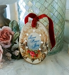 Love Peace Joy Oval Christmas Xmas Plate Ornament w/Crystals