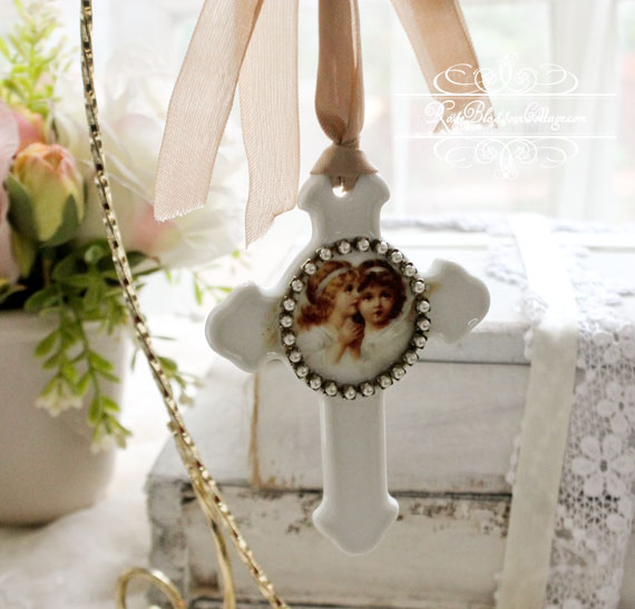 Porcelain Cross Angel Sisters Ornament