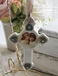 Porcelain Cross Angel Sisters Hearts Ornament