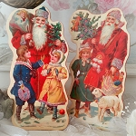 Santa Bearing Gifts Display Easels Set of 2