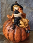 Little Girl Witch and her Black Cat Figurine Decor