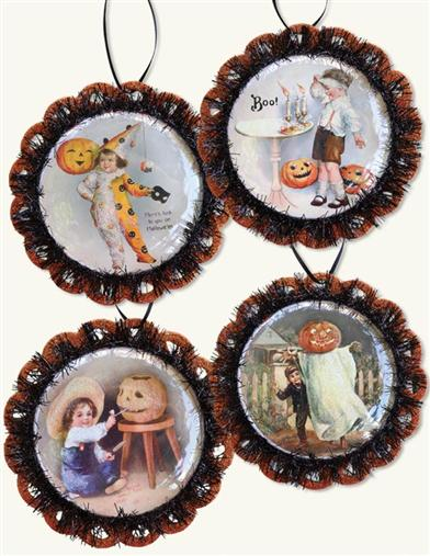 Jack-O-Lantern Postcard Ornaments Halloween Pumpkin Set 4