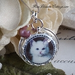 For the Love of Honey: White Cat Charm Necklace