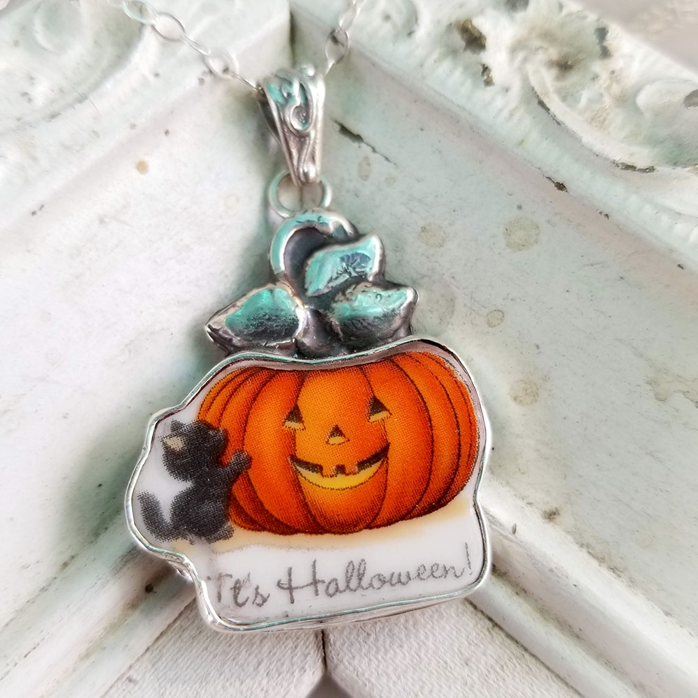 Halloween Black Cat Pumpkin Sterling Silver Pendant Necklace