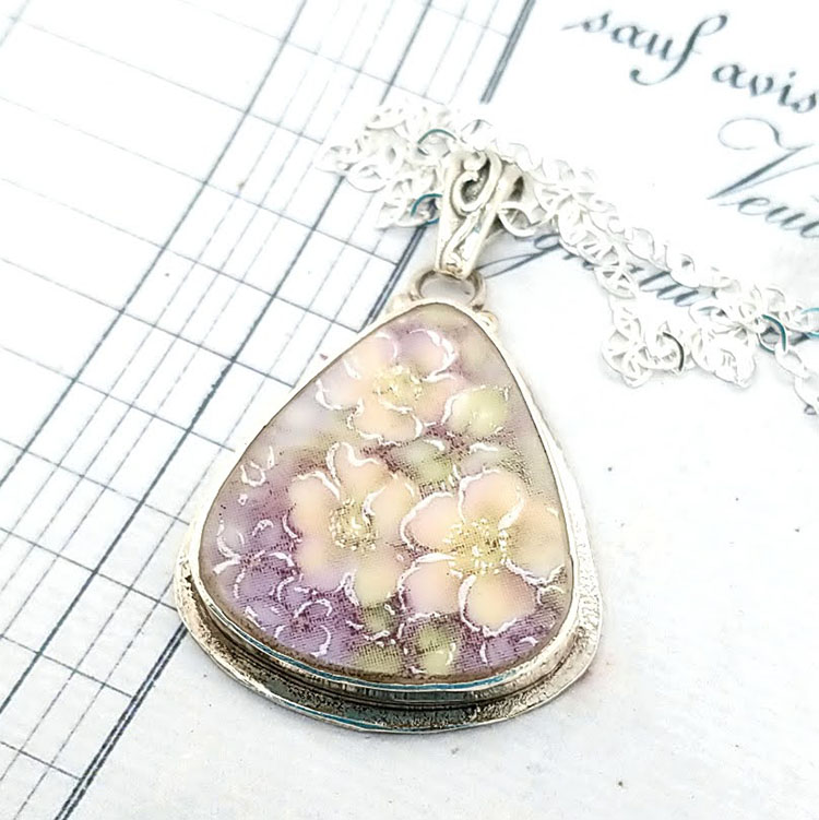 Romantic Lavender and Peach floral Broken China Jewelry Triangle Necklace