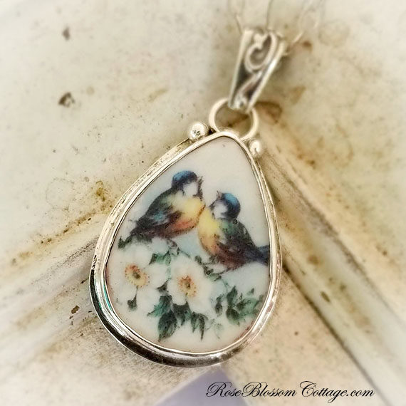 Broken China Jewelry  Lovebirds Teardrop Pendant Necklace