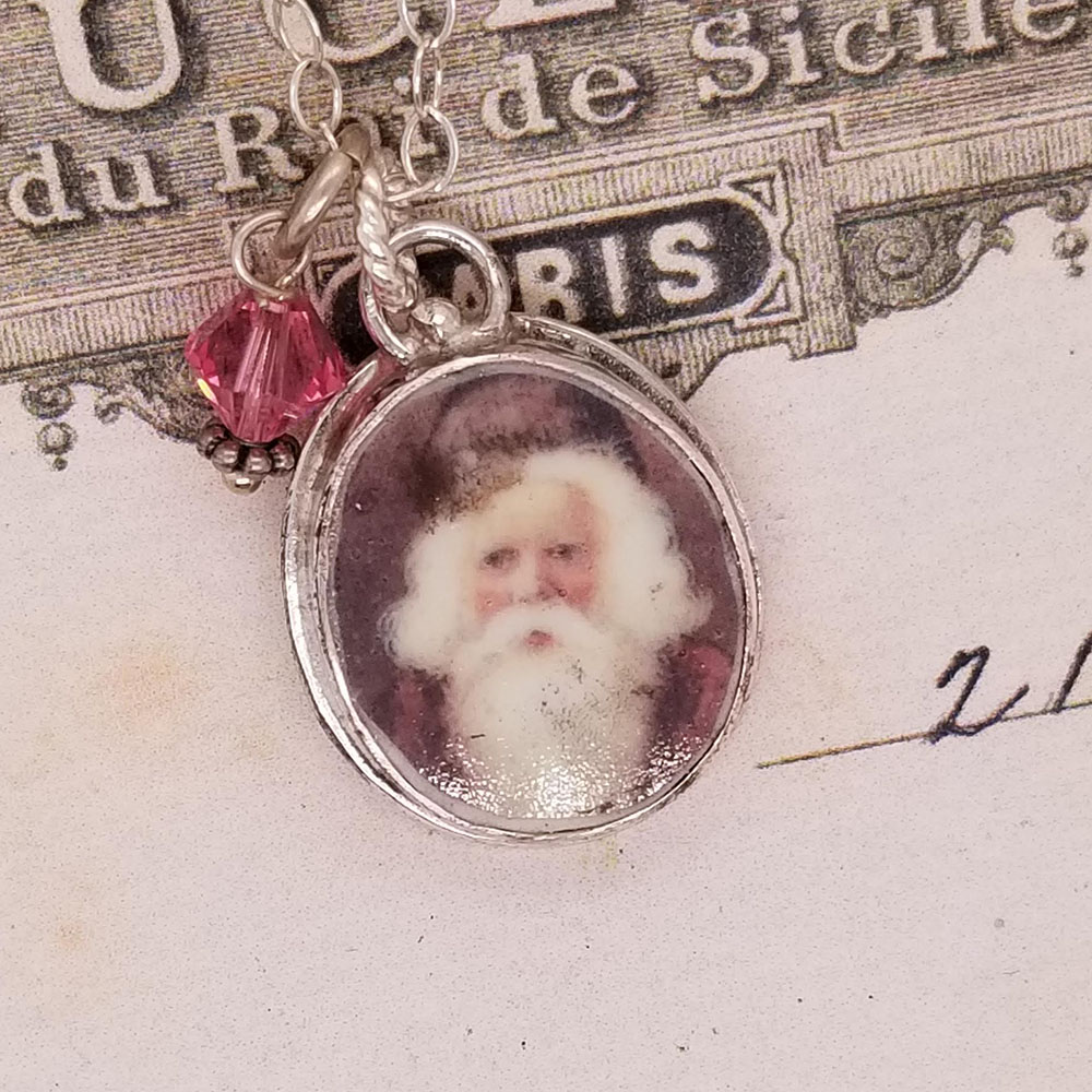 Olde World Santa, oval St. Nick Xmas Christmas Broken China Jewelry Charm Pendant Necklace