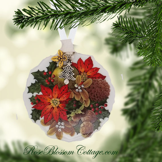 Poinsettia Scallop Porcelain Ornament Xmas Charms
