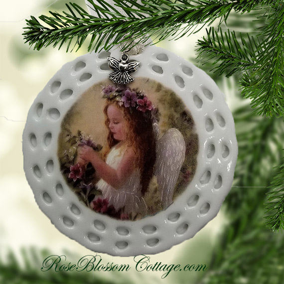 Angel Child Little Girl Christmas Pierced Porcelain Ornament Xmas Charms