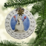 Happy Snowman Christmas Pierced Porcelain Ornament Xmas Charms