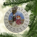 Mr and Mrs Snowman Couple Christmas Pierced Porcelain Ornament Xmas Charms