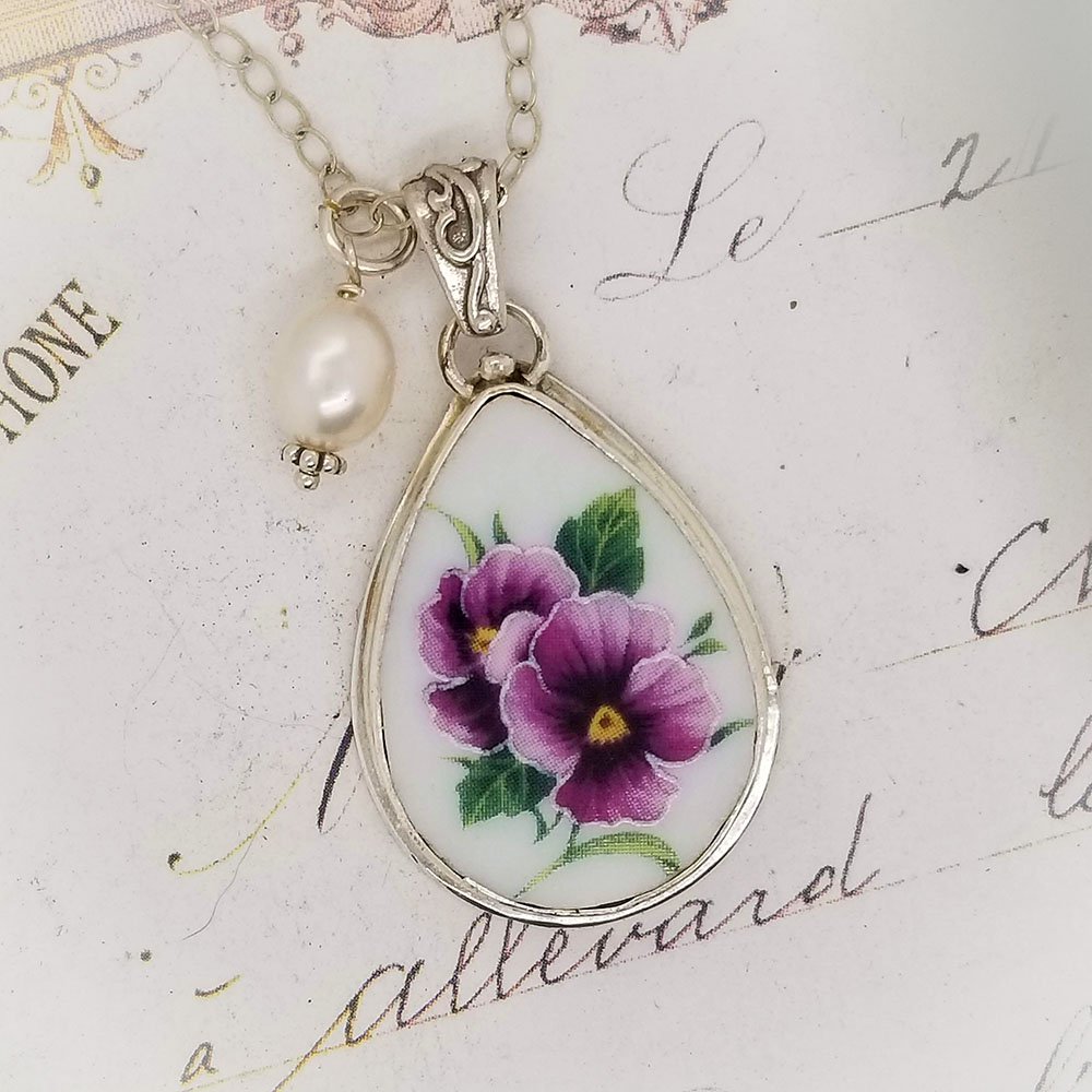 Teardrop Purple Pansy Broken China Jewelry Pendant Necklace