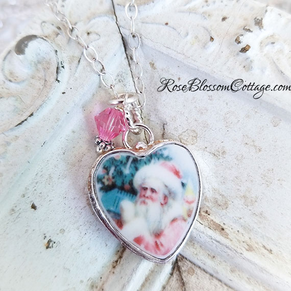 BESTSELLER Pink Santa Sterling Broken China Jewelry  Charm or Necklace B